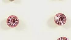 par de pendientes de cristalitos rosas 4mm para reborn